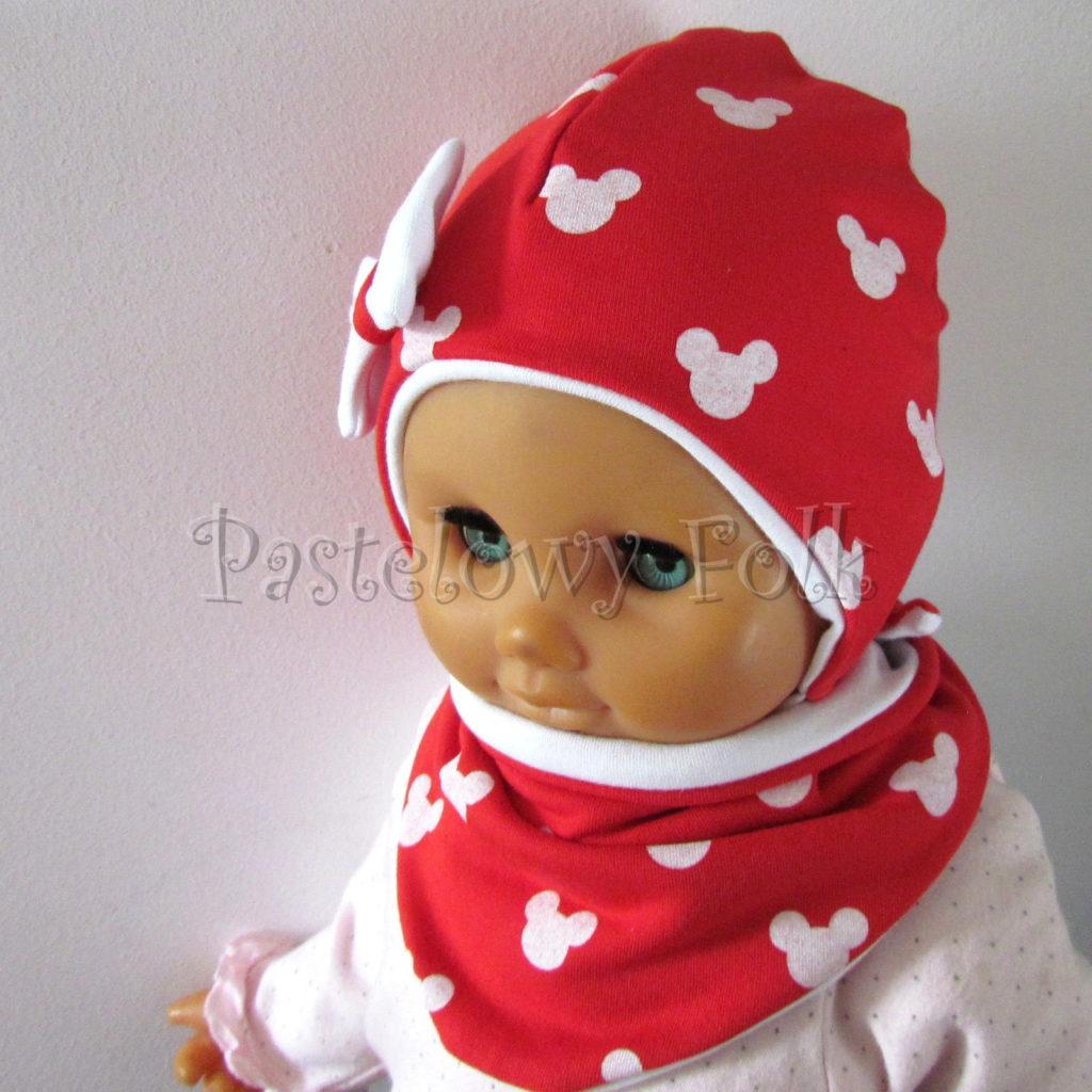 dziecko-czapka-227-czerwona-w-biale-myszki-minnie-z-biala-kokardaniemowleca-profilowana-wiazana-jesienna-dwuwarstwowa-komplet-chustka-05
