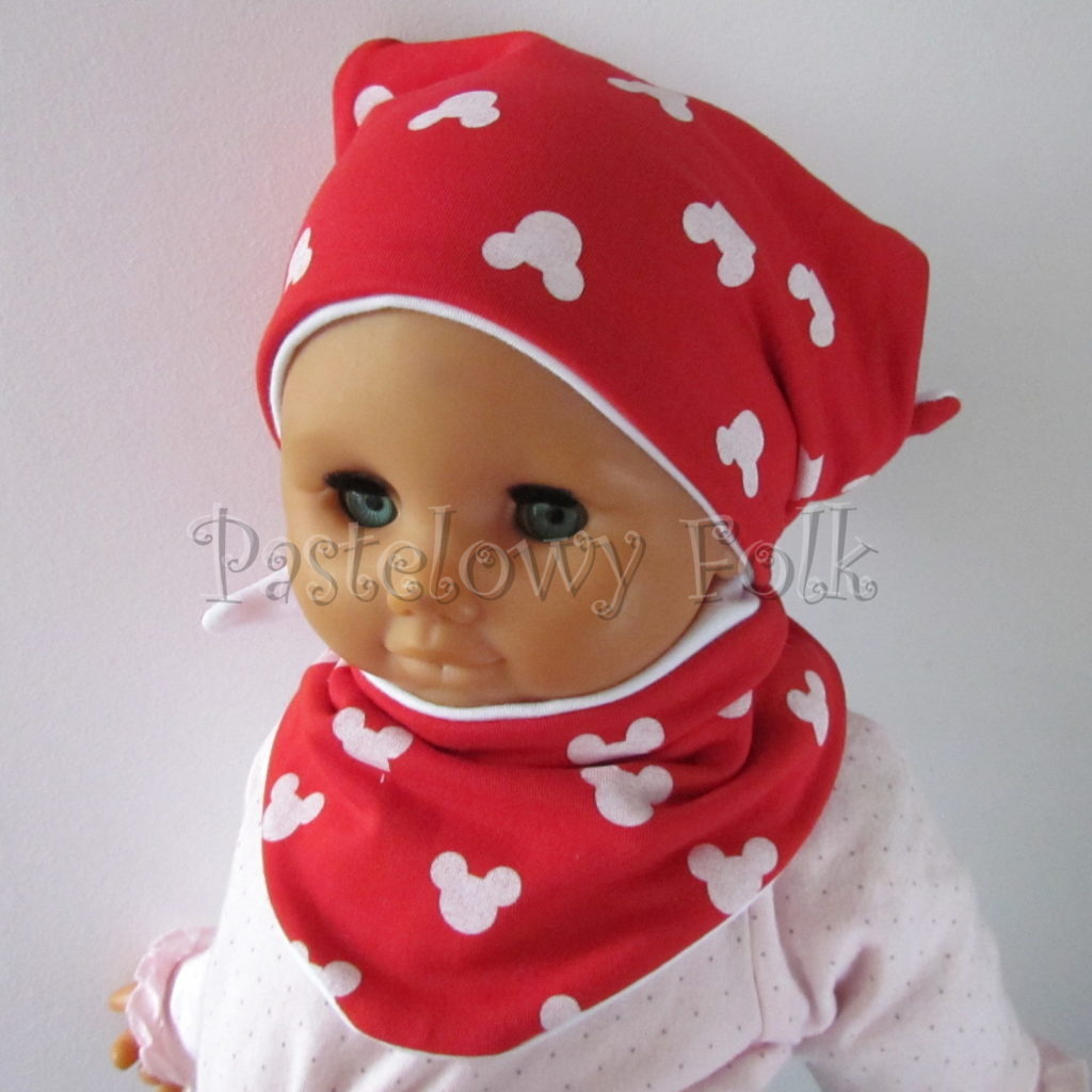 dziecko-czapka-227-czerwona-w-biale-myszki-minnie-z-biala-kokardaniemowleca-profilowana-wiazana-jesienna-dwuwarstwowa-komplet-chustka-06