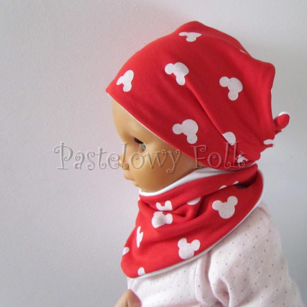 dziecko-czapka-227-czerwona-w-biale-myszki-minnie-z-biala-kokardaniemowleca-profilowana-wiazana-jesienna-dwuwarstwowa-komplet-chustka-07
