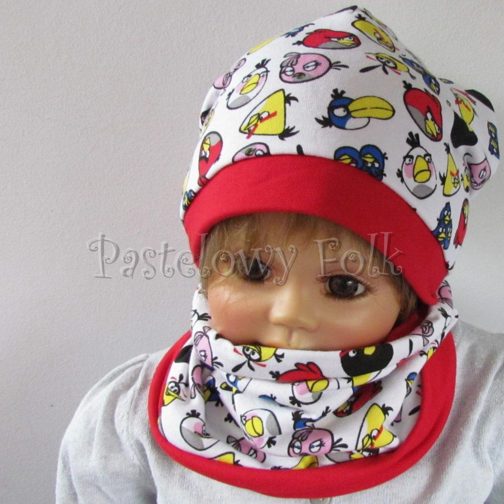 dziecko-czapka-229-biala-angry-birds-kolorowe-czerwona-dwuwarstwowa-jesien-komplet-chustka-01
