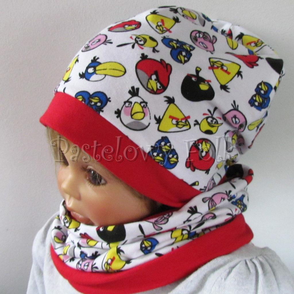 dziecko-czapka-229-biala-angry-birds-kolorowe-czerwona-dwuwarstwowa-jesien-komplet-chustka-02
