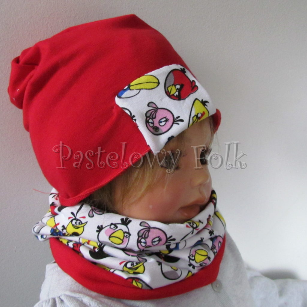 dziecko-czapka-230-czerwona-z-biala-wszywka-angry-birds-kolorowekomplet-komin-01
