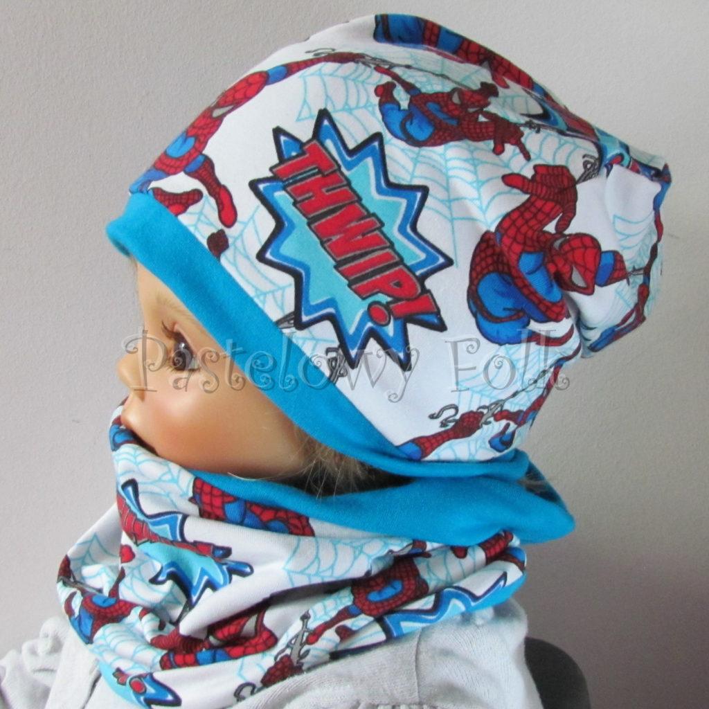 dziecko-czapka-233-biala-turkusowa-spiderman-czerwony-niebieskidwuwarstwowa-komplet-komin-01