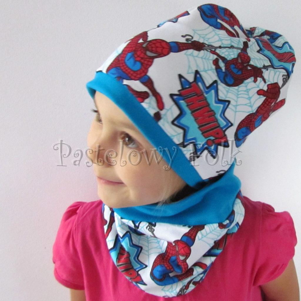 dziecko-czapka-233-biala-turkusowa-spiderman-czerwony-niebieskidwuwarstwowa-komplet-komin-03