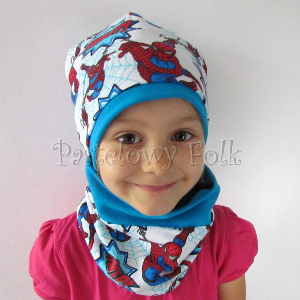 dziecko-czapka-233-biala-turkusowa-spiderman-czerwony-niebieskidwuwarstwowa-komplet-komin-04