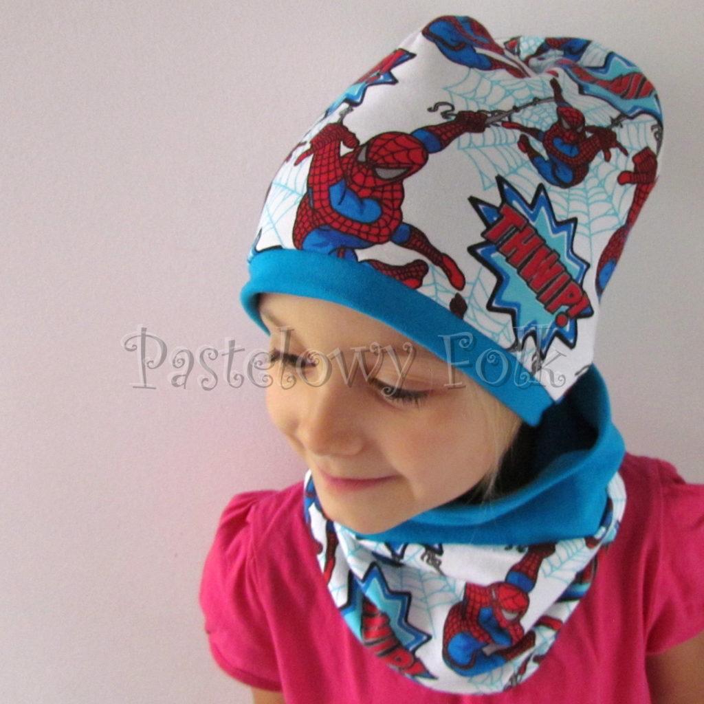 dziecko-czapka-233-biala-turkusowa-spiderman-czerwony-niebieskidwuwarstwowa-komplet-komin-05