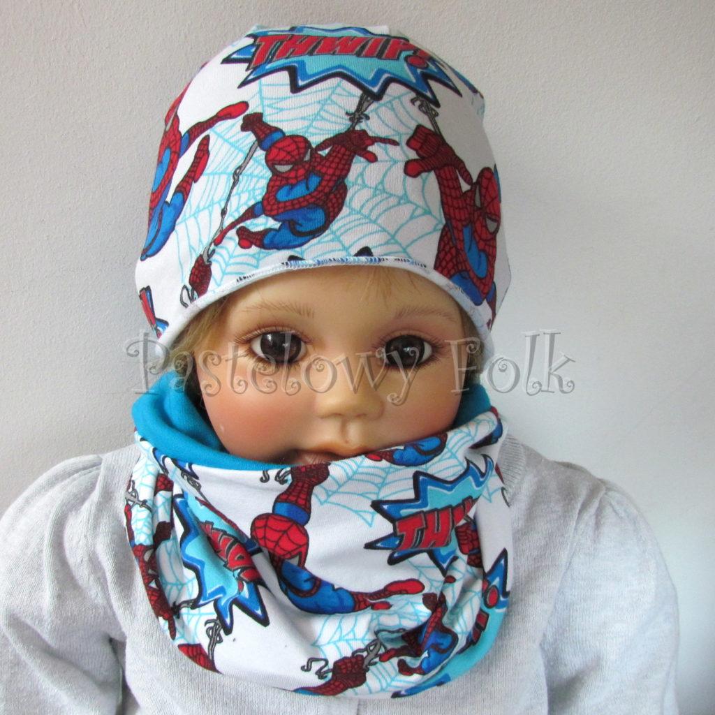 dziecko-czapka-234-biala-turkusowa-spiderman-czerwony-niebieski-komplet-komin-01