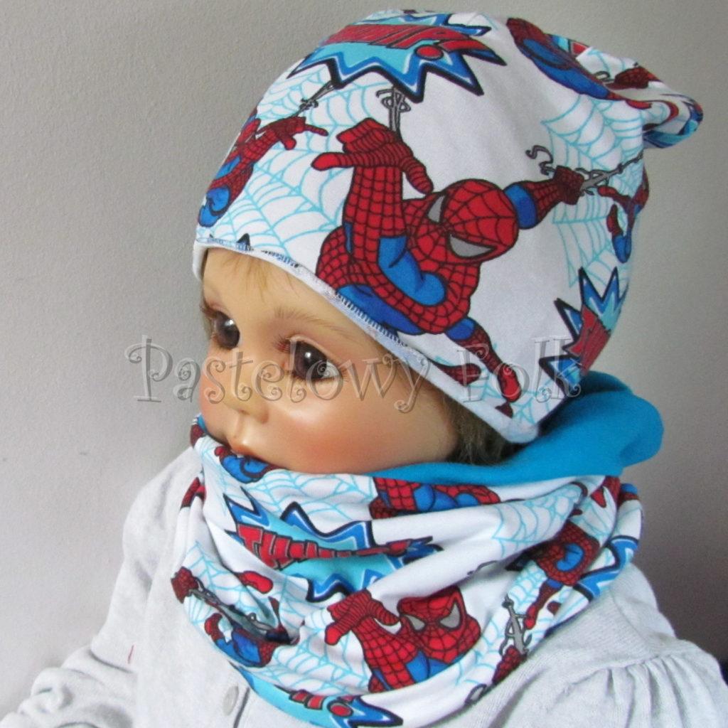 dziecko-czapka-234-biala-turkusowa-spiderman-czerwony-niebieski-komplet-komin-02