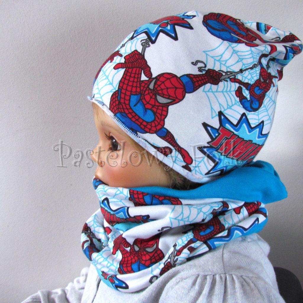dziecko-czapka-234-biala-turkusowa-spiderman-czerwony-niebieski-komplet-komin-03