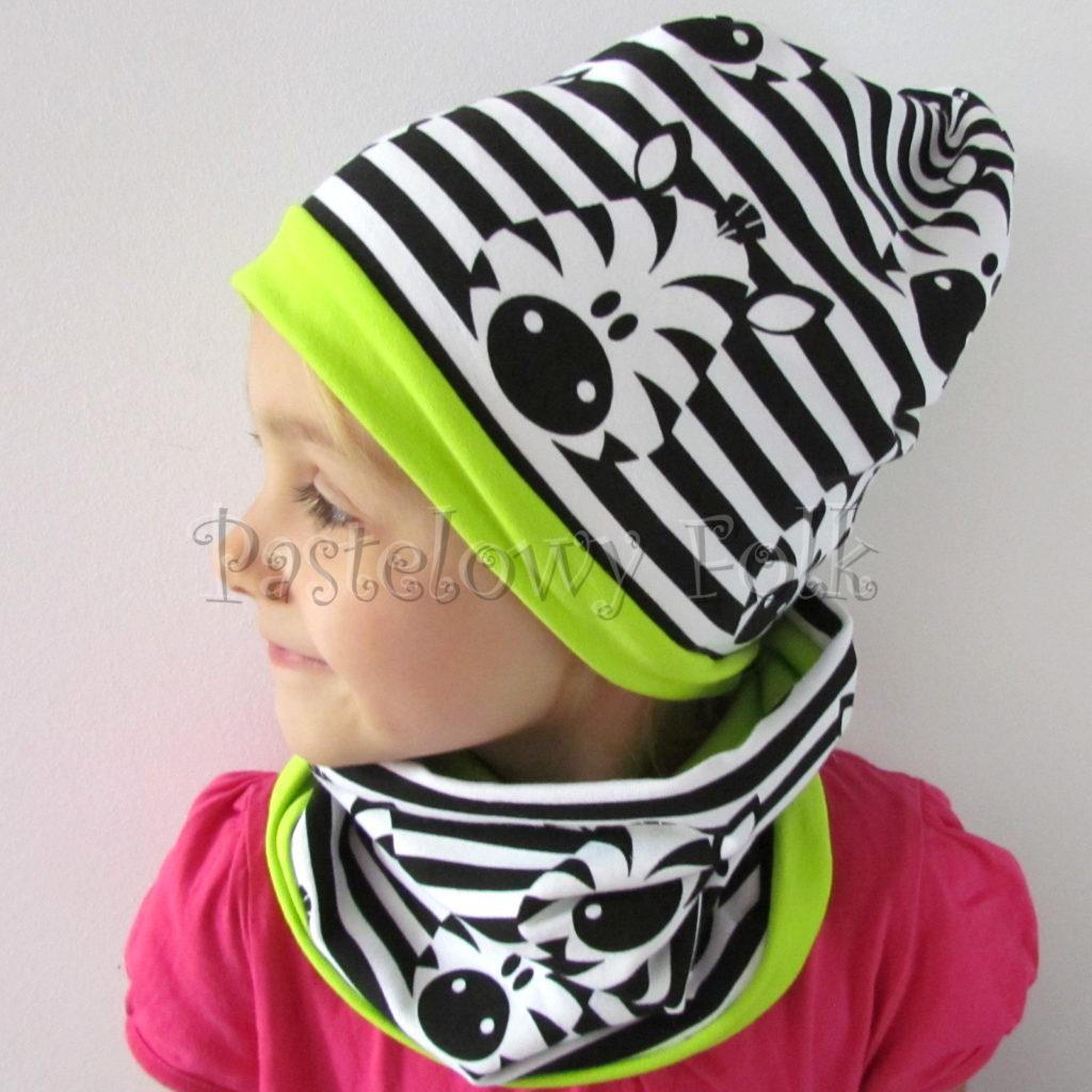 dziecko-czapka-236-biale-czarne-paski-zebry-limonkowa-jaskrawy-zielony-dwuwarstwowa-dresowka-jesienna-komplet-komin-01