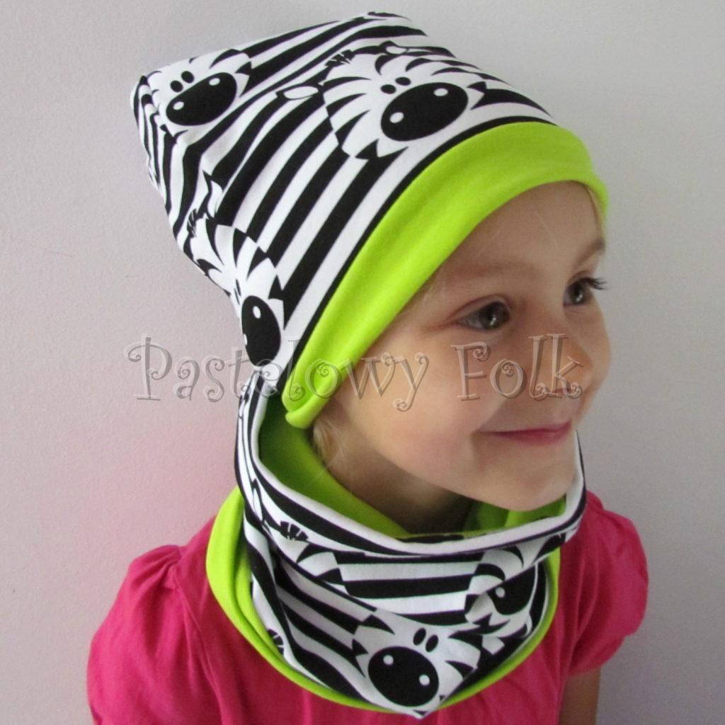 dziecko-czapka-236-biale-czarne-paski-zebry-limonkowa-jaskrawy-zielony-dwuwarstwowa-dresowka-jesienna-komplet-komin-02