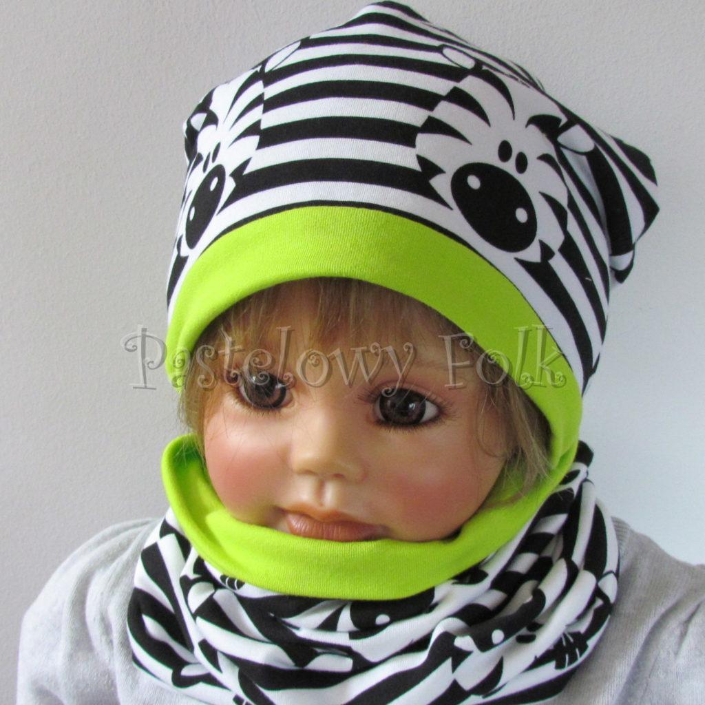 dziecko-czapka-236-biale-czarne-paski-zebry-limonkowa-jaskrawy-zielony-dwuwarstwowa-dresowka-jesienna-komplet-komin-05