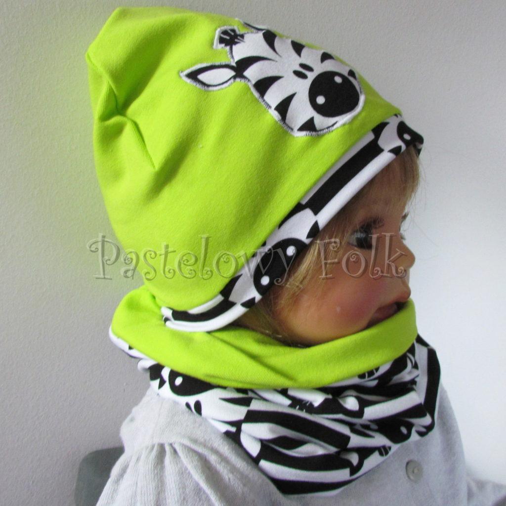 dziecko-czapka-237-limonkowa-jaskrawy-zielony-zebra-aplikacja-biale-czarne-paski-zebrykomplet-komin-03