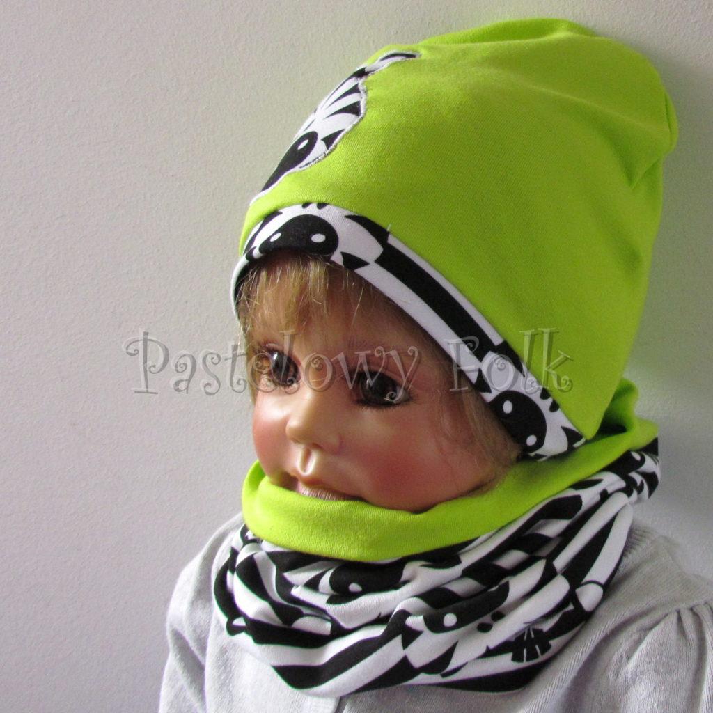 dziecko-czapka-237-limonkowa-jaskrawy-zielony-zebra-aplikacja-biale-czarne-paski-zebrykomplet-komin-05