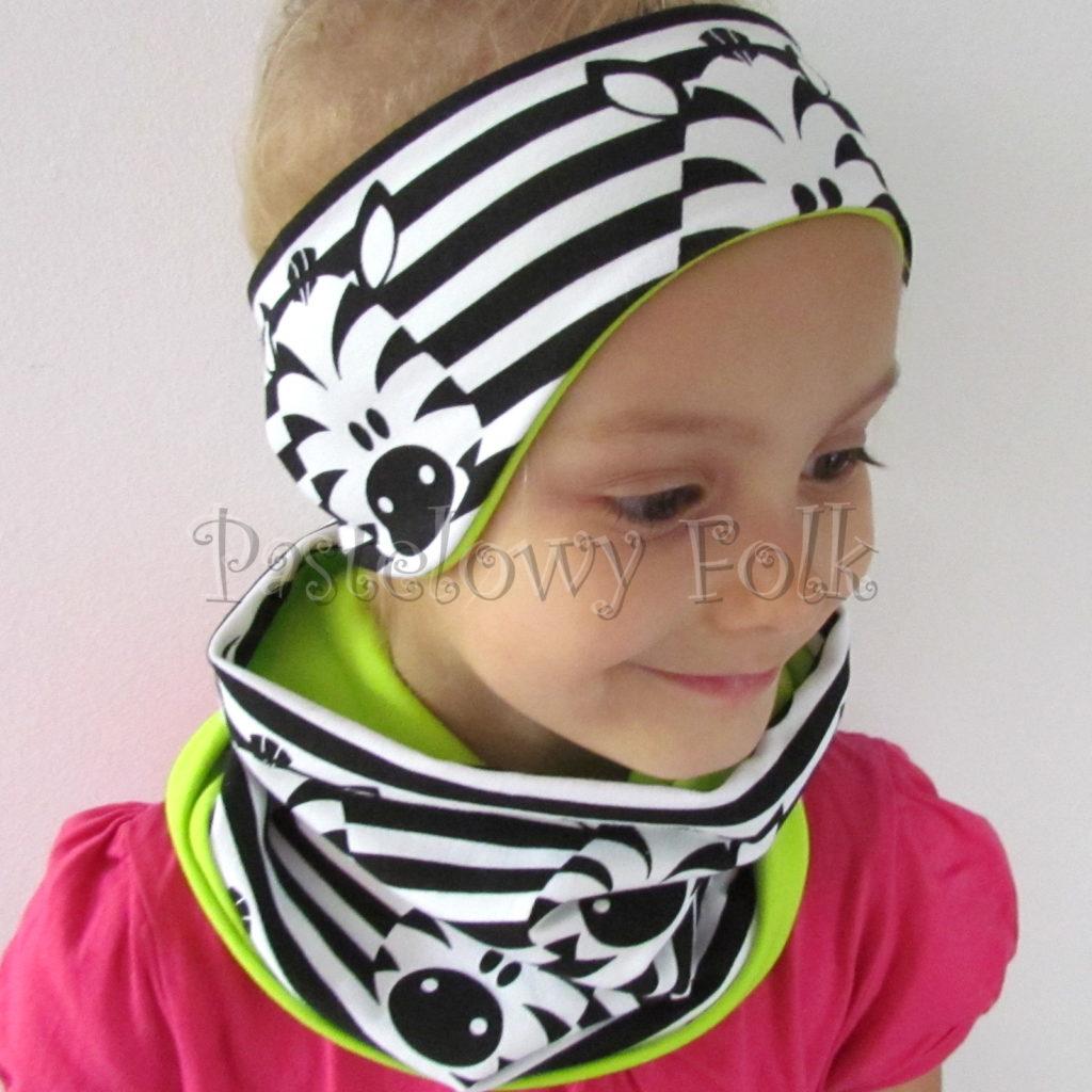 dziecko-opaska-167-czarne-biale-zebry-limonkowa-jaskrawa-zielona-dwustronna-chlopieca-komplet-komin-02