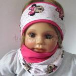 dziecko-opaska-181-rozowa-fuksja-biala-myszki-minnie-komplet-chustka-01