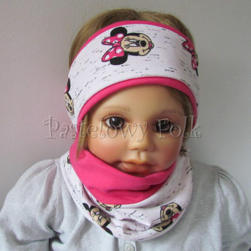 dziecko-opaska-181-rozowa-fuksja-biala-myszki-minnie-komplet-chustka-02