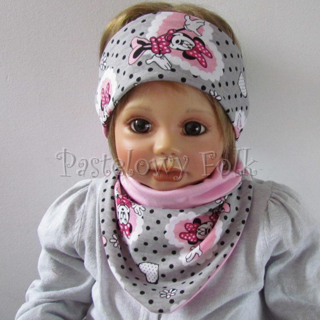 dziecko-opaska-183-szara-w-czarne-kropki-rozowa-myszka-minnie-w-serca-komplet-chustka-komin-03