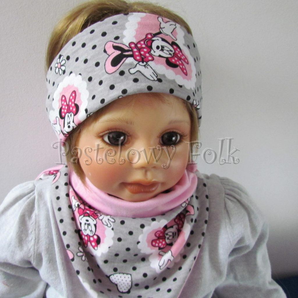 dziecko-opaska-183-szara-w-czarne-kropki-rozowa-myszka-minnie-w-serca-komplet-chustka-komin-04