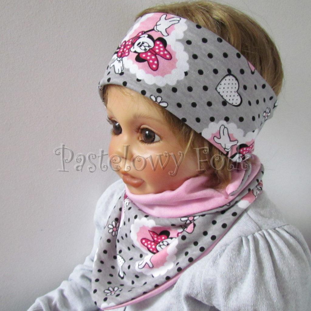 dziecko-opaska-183-szara-w-czarne-kropki-rozowa-myszka-minnie-w-serca-komplet-chustka-komin-05