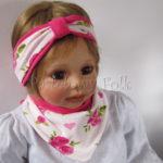 dziecko-opaska-189-biala-w-rozowe-roze-i-zielone-listki-fuksja-ciemnorozowaz-przewiazka-komplet-chustka-02