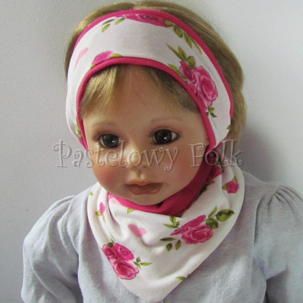 dziecko-opaska-189-biala-w-rozowe-roze-i-zielone-listki-fuksja-ciemnorozowaz-przewiazka-komplet-chustka-04