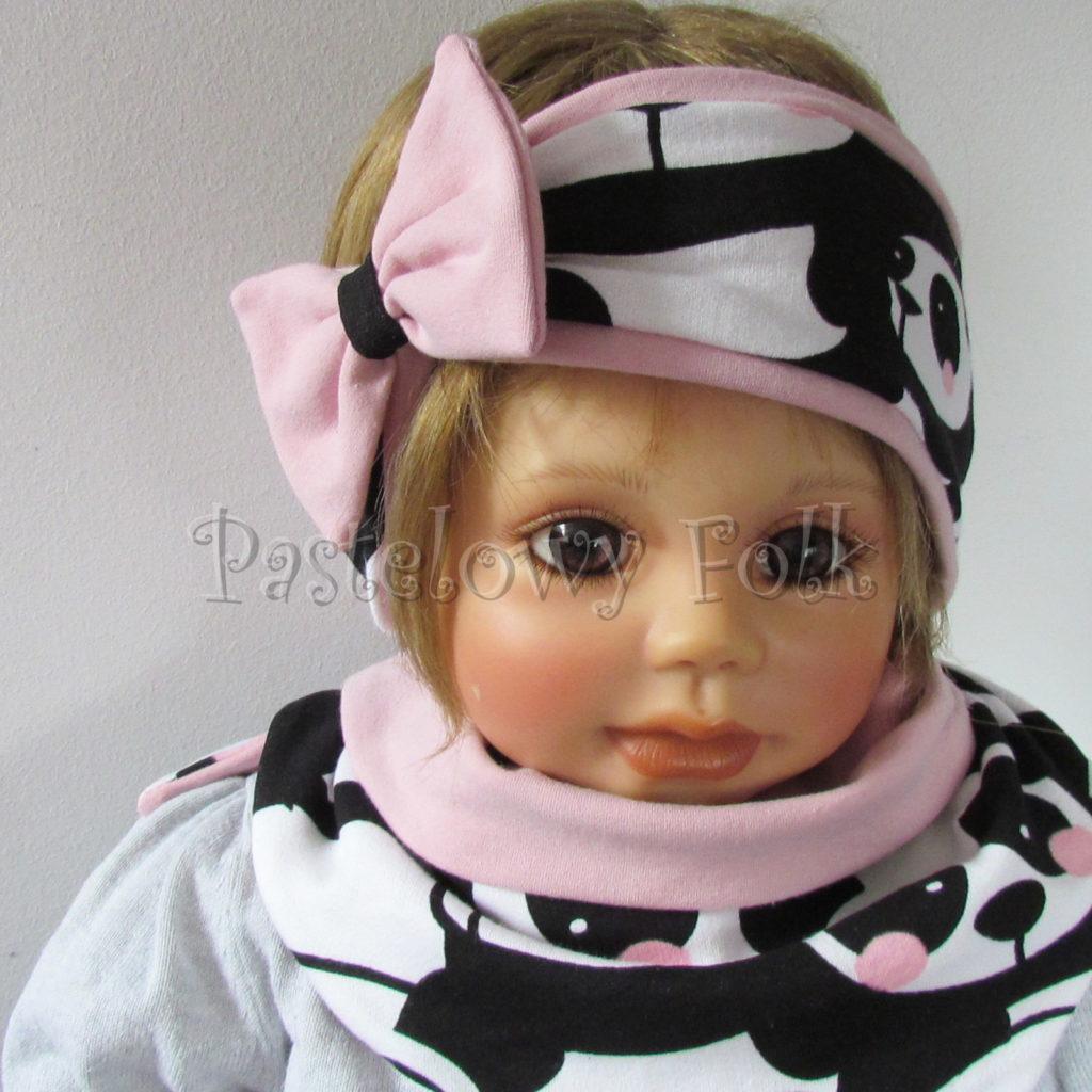 dziecko-opaska-196-biale-czarne-pandy-z-rozowymi-policzkamirozowa-duza-kokarda-komplet-chustka-komin-01