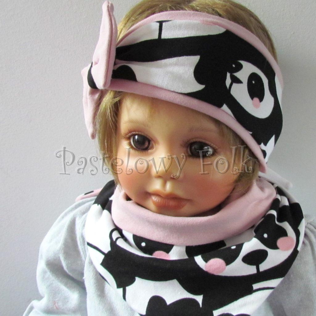 dziecko-opaska-196-biale-czarne-pandy-z-rozowymi-policzkamirozowa-duza-kokarda-komplet-chustka-komin-04
